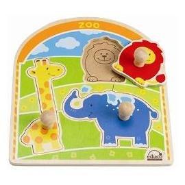 【淘氣寶寶】德國Hape愛傑卡 拼圖系列-動物園木拼圖.益智操作.1歲以上