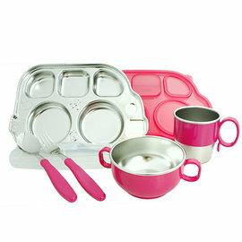 【淘氣寶寶】美國 Innobaby不鏽鋼巴士餐具禮盒組 粉【保證公司貨●品質有保證●非水貨】