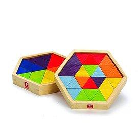 【淘氣寳寳】德國 愛傑卡 Hape 混合型拼圖 (附收納盒)/棱形幾何拼圖(掌上型)