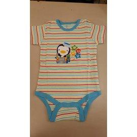 ~淘氣寶寶~PUKU 藍色企鵝 ^(天然彩棉^)嬰幼兒短袖連身衣 包屁衣,藍色條紋 60~