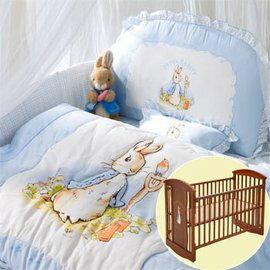 【淘氣寶寶】Peter Rabbit 比得兔嬰兒中床(126 x 68 x 106 公分)+粉彩六件寢具組 (藍色)