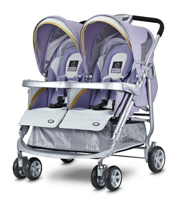 【淘氣寶寶●無外箱9成新】Zooper Tango Smart 雙人推車【紫藤蔓】史上功能最強,舒適性最優的雙人嬰兒手推車