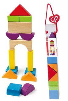 【淘氣寶寶】德國Hape愛傑卡 拼圖系列-快樂積木組-城市.數字學習.1歲以上