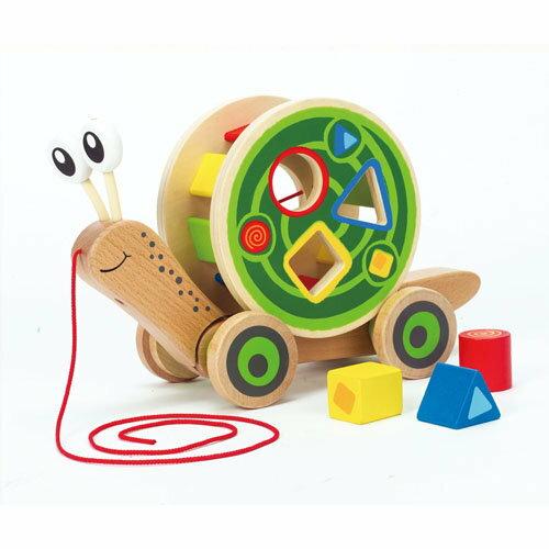 【淘氣寶寶】德國Hape愛傑卡 推拉系列-蝸牛分類積木拉車.1歲以上