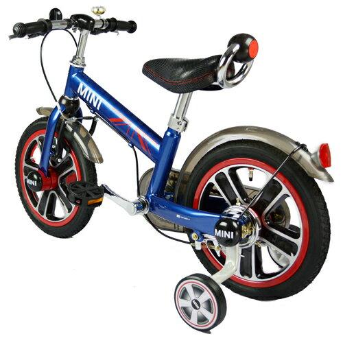 【淘氣寶寶】英國原廠授權Mini Cooper 兒童腳踏車14吋(藍)【贈純植物精油防蚊液 60ml】