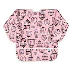 最新 美國Bumkins防水兒童3-5歲 圍兜(長袖)-粉紅小鳥 BKAS-200【紫貝殼】