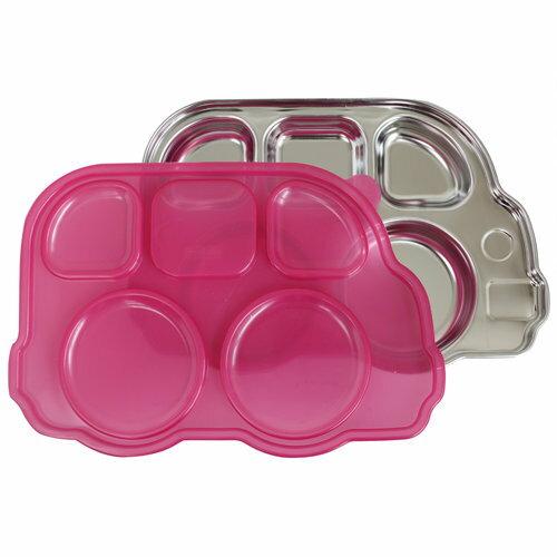 【淘氣寶寶●現貨】美國 Innobaby 不鏽鋼巴士造型餐盤(新款附蓋) 巴士餐盤 粉色【保證公司貨●品質有保證●非水貨】