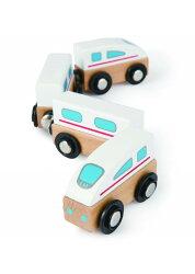 德國Hape愛傑卡-快樂積木組-磁性火車(白色火車)【天然實木、植物性水染漆、德國環保玩具】【紫貝殼】