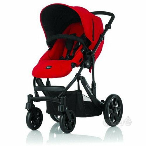 【淘氣寶寶】英國Britax B-smart雙向四輪手推車.高景觀(黑框紅) 【保證原廠公司貨】