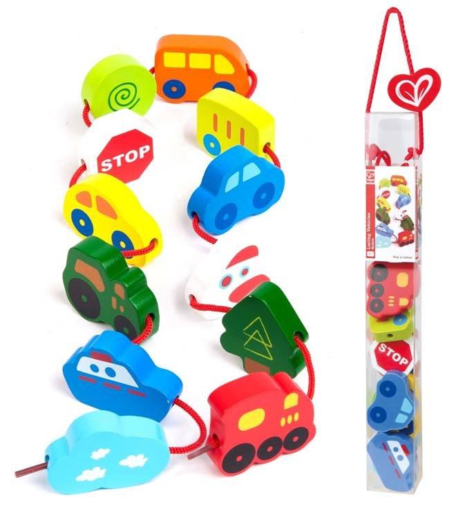 【淘氣寶寶】德國Hape愛傑卡 拼圖系列-快樂積木組-交通工具.數字學習.1歲以上