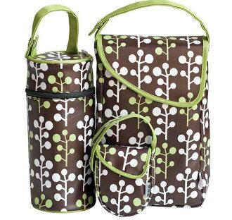 【淘氣寶寶】JJ Cole 奶嘴袋+奶瓶保溫+外出尿布收納3件旅行組 (綠小樹)