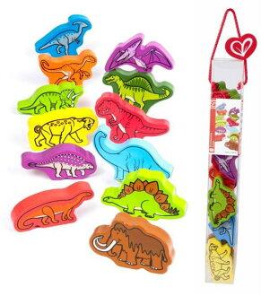 【淘氣寶寶】德國Hape愛傑卡 拼圖系列-快樂積木組-恐龍.數字學習.1歲以上