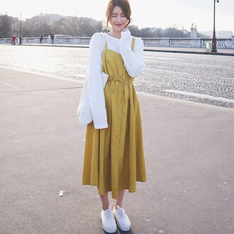 PS Mall甜美可愛綁帶收腰無袖連身裙 連身洋裝【T581】