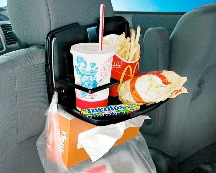 權世界@汽車用品 日本 SEIKO 多功能後座餐飲架 餐盤架-黑 EB-97