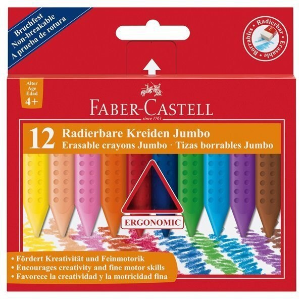 輝柏Faber-Castell 122540 握得住可擦拭大三角粗芯蠟筆12色  120010 大三角粗芯蠟筆12色