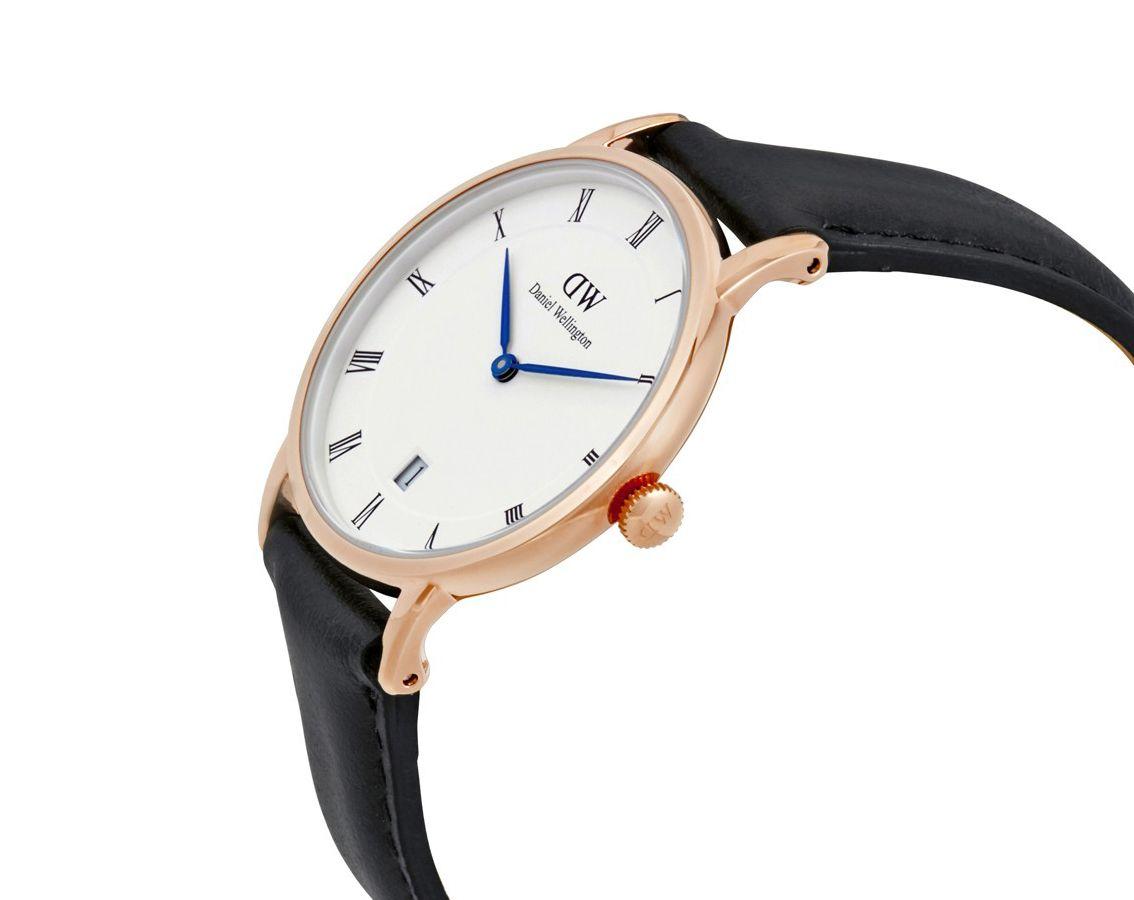 【 Daniel Wellington】DW 藍指針 黑色+玫瑰金 經典中的珍貴收藏時尚優質羅馬腕錶 黑色+玫瑰金 34/38mm