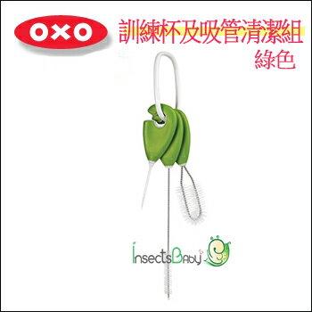 +蟲寶寶+ 【美國OXO】幼兒訓練杯及吸管清潔組-綠色《現+預》