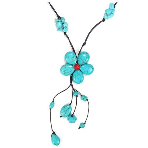 Long Drop Turquoise Flower-Brass Deco Wax Rope Necklace 2