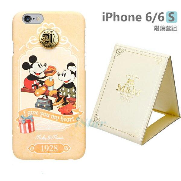 【日本 PGA-iJacket】正版 迪士尼 iPhone 6/6s 4.7吋 復古時代立體徽章附鏡套組系列-米奇米妮