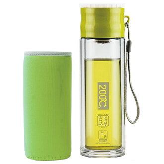 Artist 雙層耐熱附杯套不鏽鋼玻璃泡茶杯/隨身瓶260ml-綠色(MF0336AG)