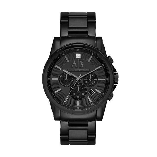 美國百分百【Armani Exchange】AX 手錶 腕錶 三眼計時 阿曼尼 不鏽鋼 水鑽 2503 曜石黑 H853
