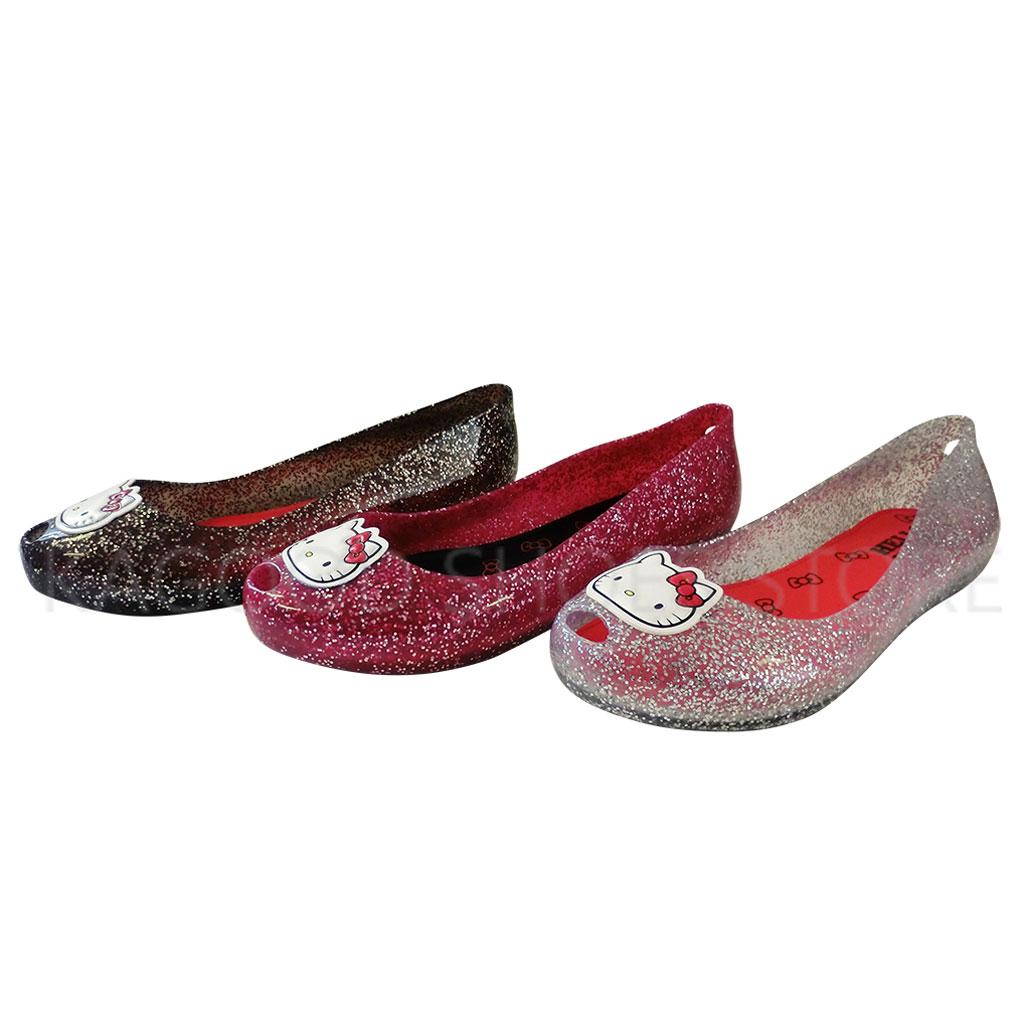 HELLO KITTY 凱蒂貓 915059 魚口 便鞋 娃娃鞋 黑   桃   銀色