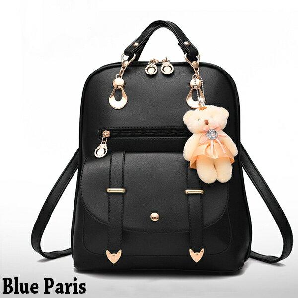 包包 - 可愛學生風小熊吊飾三用背包【21551】 藍色巴黎《5色》現貨 0