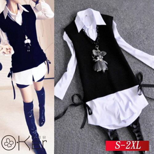 學院風兩件式V領緞帶背心拼接長版襯衫 S-2XL O-Ker 歐珂兒 135051