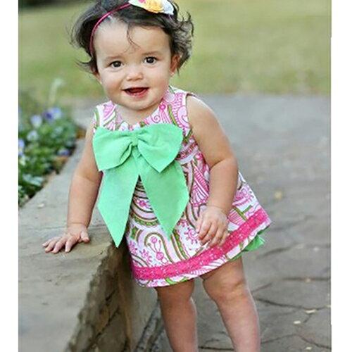 【HELLA 媽咪寶貝】美國 RuffleButts 小女童甜美荷葉邊搖擺衣/洋裝  粉綠花園大蝴蝶結 (BRSW10)