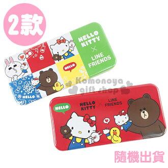 〔小禮堂〕Hello Kitty x Line Friends 鐵製雙層筆盒《2款.隨機出貨.超寬版.紅/綠》