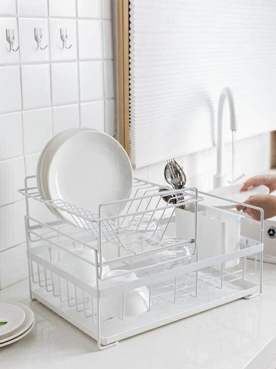 瀝水架 置物架雙層晾放碗筷碗碟碗盤廚房收納盒儲物架 AT