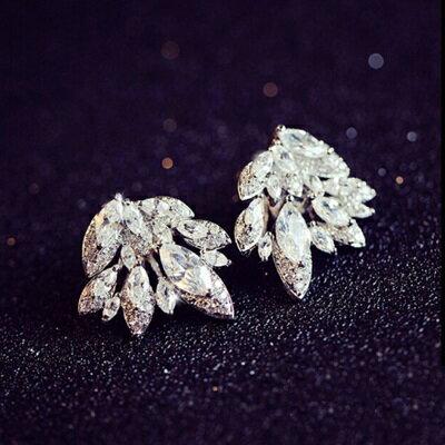 ~925純銀耳環鑲鑽耳飾~ 唯美亮眼樹葉情人節生日 女飾品73du44~ ~~米蘭 ~