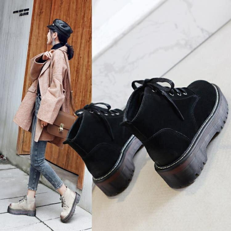 短靴女秋冬新款顯瘦鬆糕底休閒學生單靴女女鞋厚底馬丁靴 秋冬新品特惠