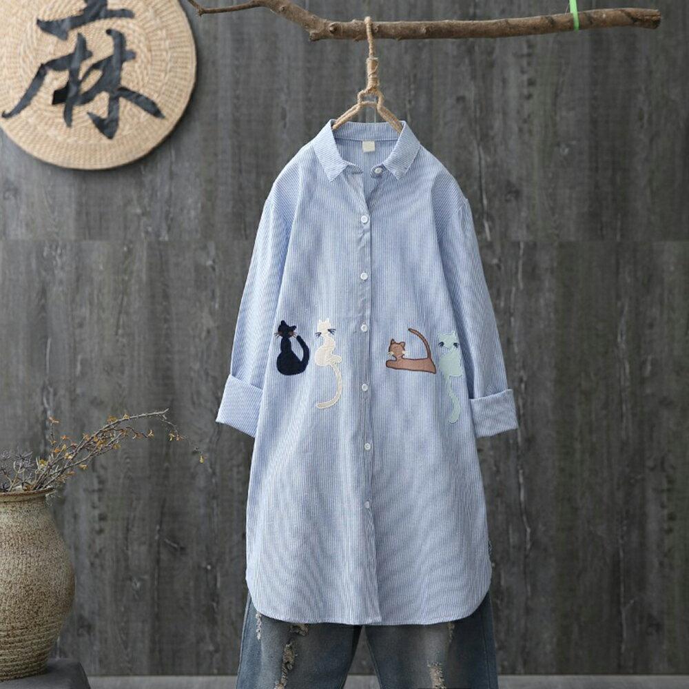 中長款卡通貓咪刺繡條紋長袖襯衫(2色XL~4XL)【OREAD】 0