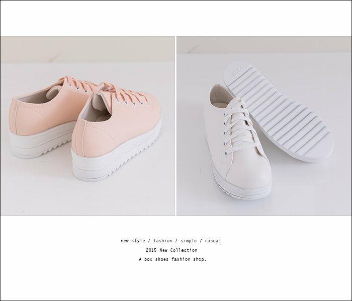 格子舖*【KiW621】MIT台灣製 經典素色白色系 繫帶厚底增高5CM帆布鞋鬆糕鞋小白鞋 5色 1