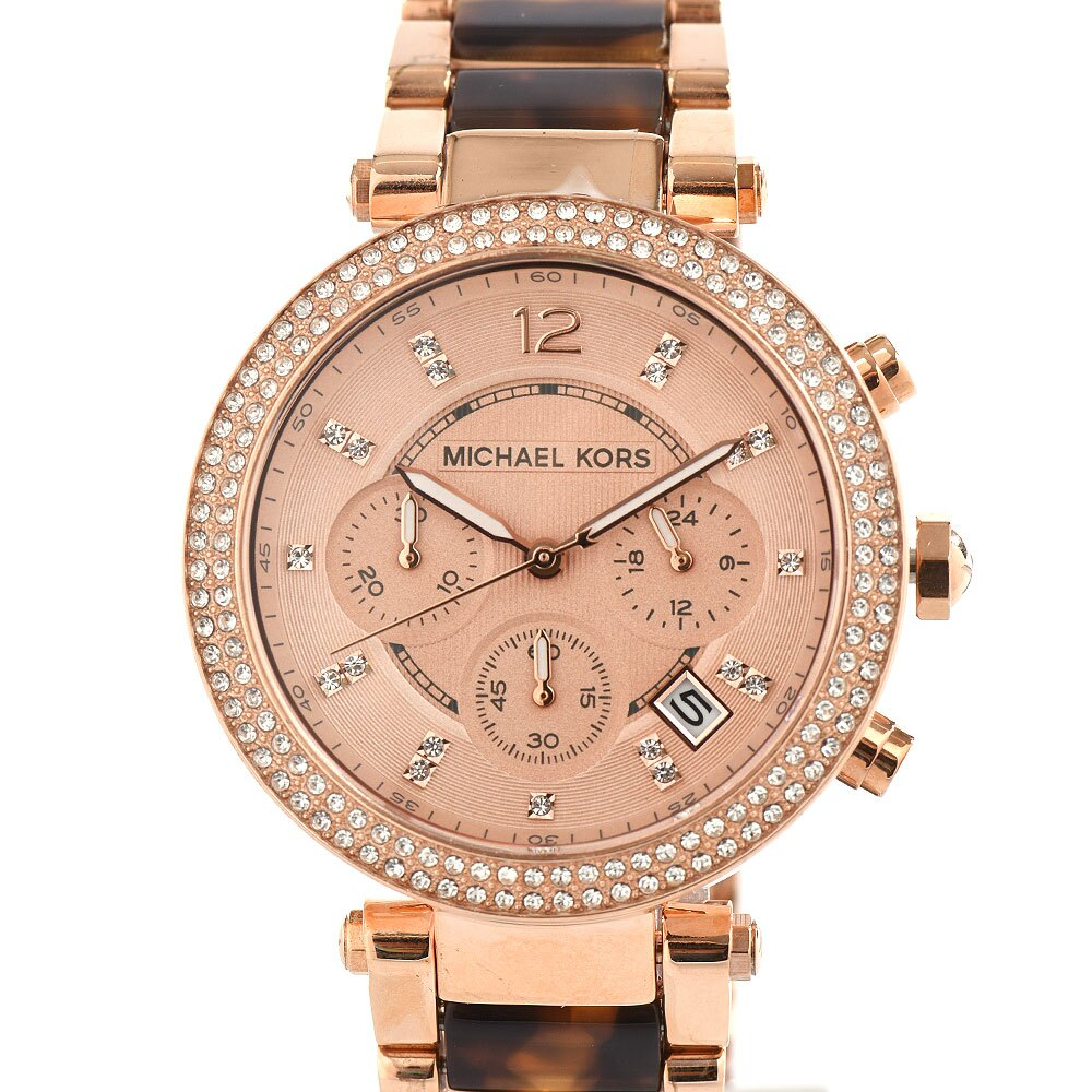Outlet正品代購 Michael Kors MK 玫瑰金 琥珀玳瑁錶帶 三眼計時 手錶 腕錶 MK5538