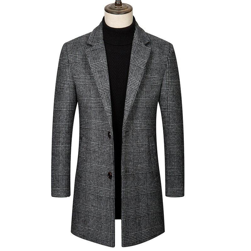 毛呢大衣中長版風衣-格紋修身翻領時尚男外套2色73wk16【獨家進口】【米蘭精品】 0