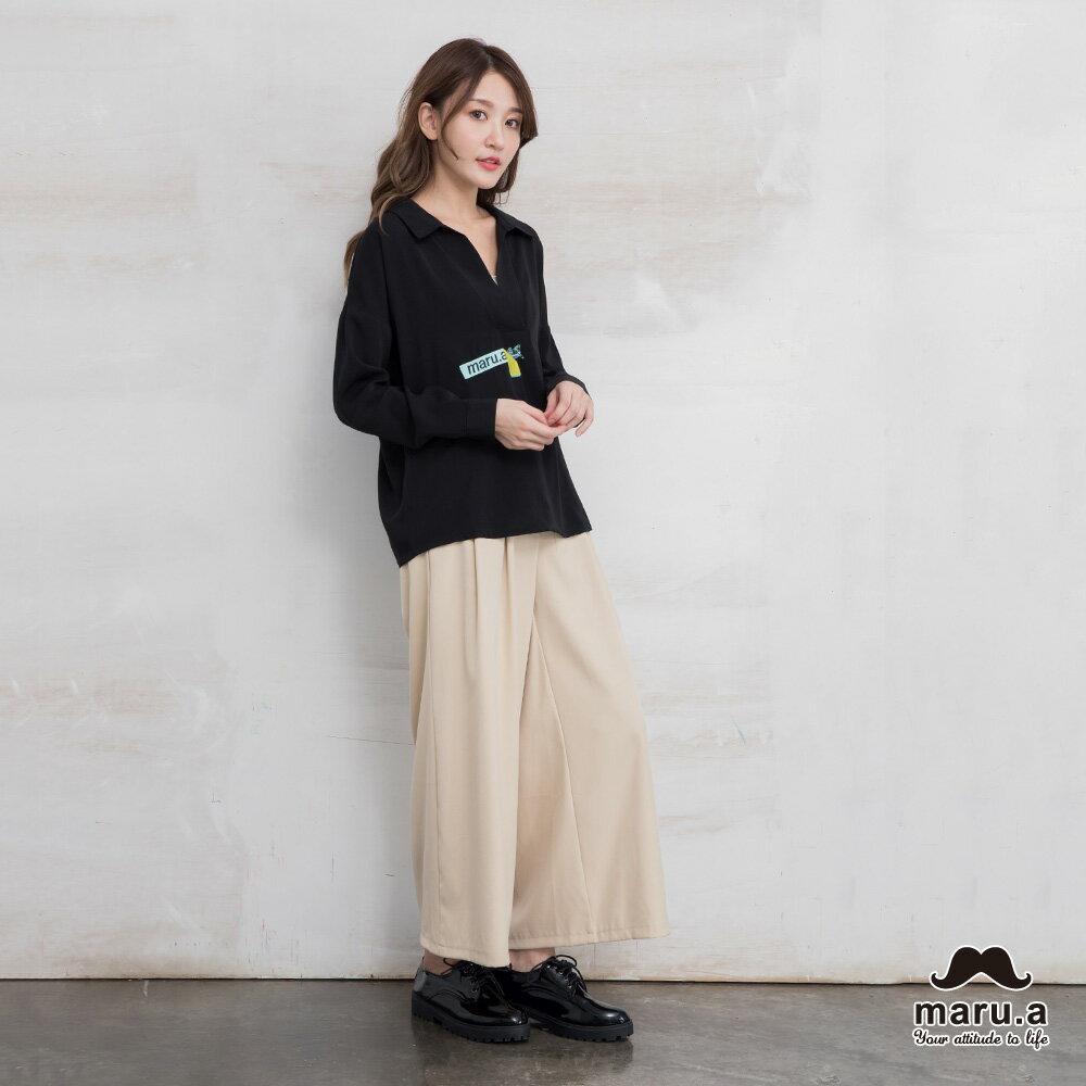 【maru.a】烏龜躲貓貓刺繡低領襯衫(2色)7923114 7