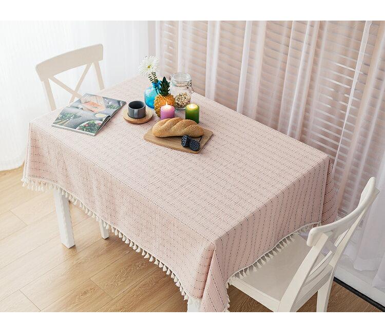 居家布置 現代簡約小清新棉麻 桌布桌巾 餐桌布/單售-藍
