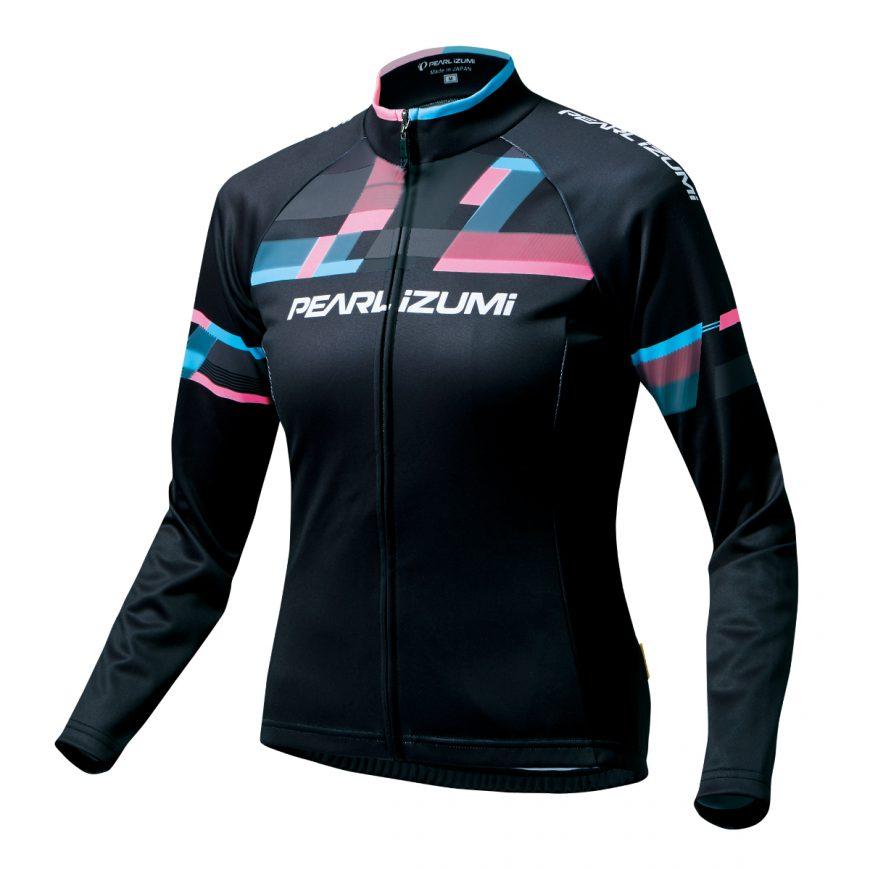 【7號公園自行車】PEARL IZUMI W7455-BL-17 15度女性冬季保暖長袖車衣(黑/粉藍)