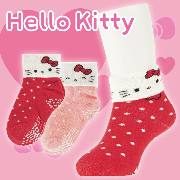 ~沙克思~Hello Kitty 反摺貓臉點點紋止滑嬰兒短襪 特性:舒適棉混編織 可返摺
