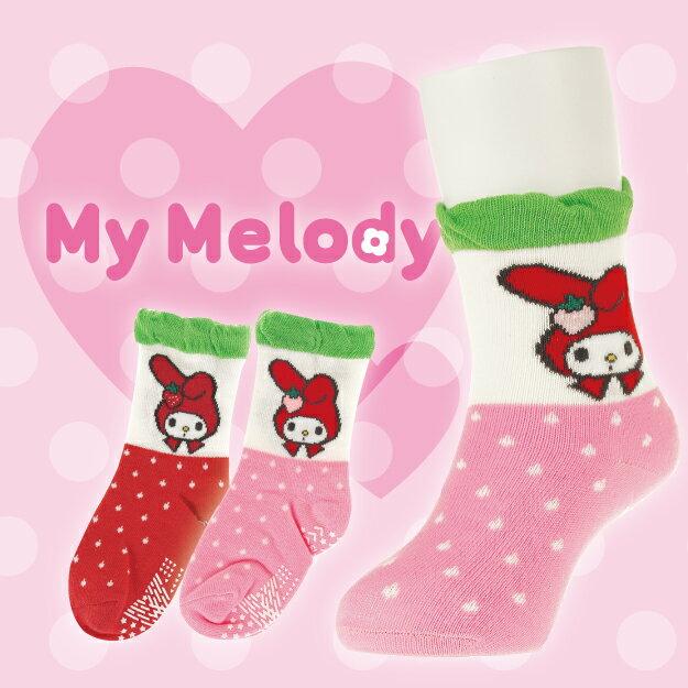【沙克思】My Melody 泡皺口上美樂蒂下點點紋止滑嬰兒短襪 特性:舒適棉混編織+鬆口設計+足底附止滑 (sanrio 三麗鷗 襪子 童襪 嬰兒襪 )