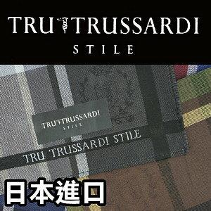 【沙克思】TRUSSARDI色槓方格內暗紋標誌男手帕特性:100%純棉編織+光影暗紋編織設計(貴族獵犬楚薩迪)