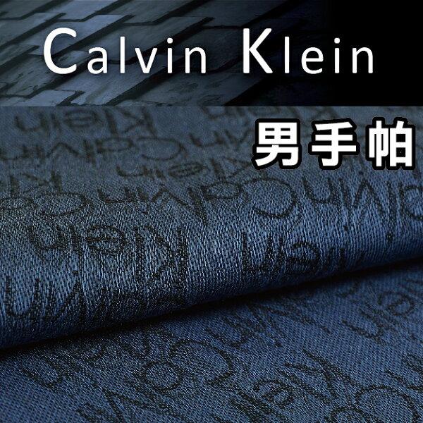 【沙克思】CalvinKlein橫排英字暗紋男手帕特性:100%純棉編織+光影暗紋編織設計(CK卡爾文克雷恩凱文克萊日本製男手帕)