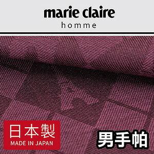 【沙克思】marieclaire大菱格內凱旋門鐵塔暗紋男手帕特性:100%純棉編織+光影暗紋編織(日本美麗佳人嘉人瑪利嘉兒日本製男手帕)