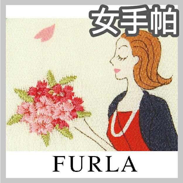 【沙克思】FURLA 屋前櫻樹下女孩刺繡女手帕 特性:100%純棉編製+附花束刺繡 (芙拉 日本製 )