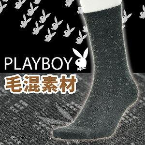 【沙克思】PLAYBOY排列九宮小方格紋鬆口毛混紳士襪特性:毛混素材+鬆口設計+NDX鬆緊+附刺繡(襪子男襪薄毛襪男毛襪西裝襪)