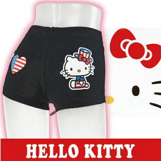【沙克思】HELLO KITTY 後側我愛K/T貓燙印一分褲 特性:80%綿混素材+寬幅鬆緊+褲底附平整車縫 (三麗鷗 SANRIO 凱蒂貓 一分丈 安全褲)