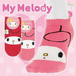 【沙克思】My Melody 腳背美樂蒂臉譜女滑板襪 特性:舒適棉混編織+三麗鷗卡通人物造型 (SANRIO 襪子 女襪 女滑板襪)
