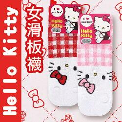 【沙克思】Hello Kitty 上格紋腳尖凱蒂貓臉女滑板襪  特性:舒適棉混編織+腳背透氣網眼編+腳尖貓臉附耳造型 (SANRIO 三麗鷗 襪子 女襪 女短襪 )